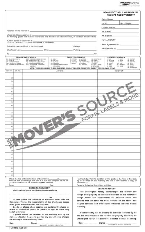Standard Forms Warehouse Storage