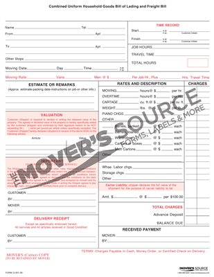 Goods Bill of Lading - .30 - Custom